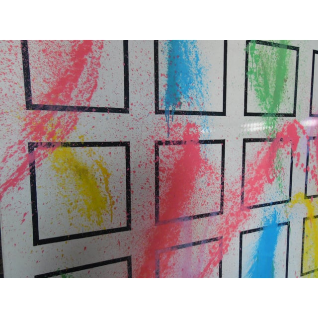 Original painting by Philippe from early 1980's. White with pastel colors over geometric squares.