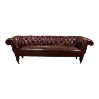 Late 19th Century English Red Leather Three Seat Chesterfield Sofa For Sale