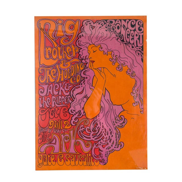 1967 Original Big Brother and the Holding Co Poster Janis Joplin  Psychedelic Concert Poster