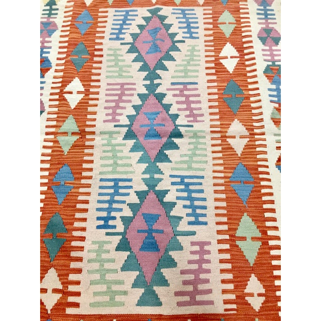 Contemporary Turkish Kilim Rug - 4′ × 6′2″ For Sale - Image 4 of 11