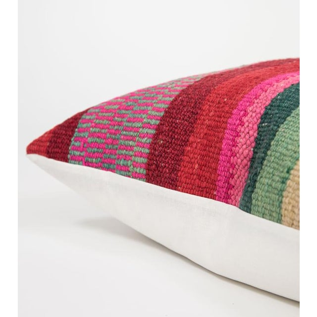 Red Striped Handwoven Peruvian Pillow - Image 3 of 5