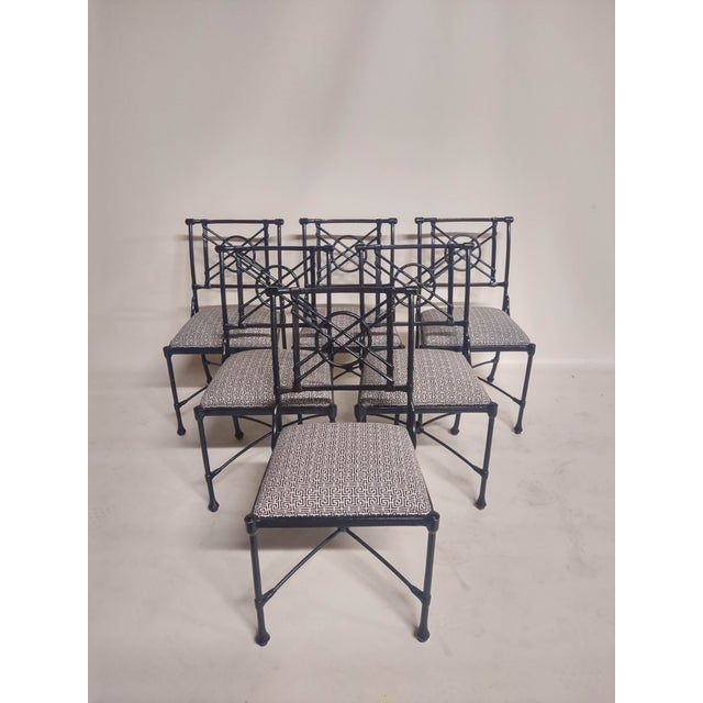 1960s Vintage Black Patio Chairs in Decorator Fabric - Set of 6 For Sale In Raleigh - Image 6 of 10