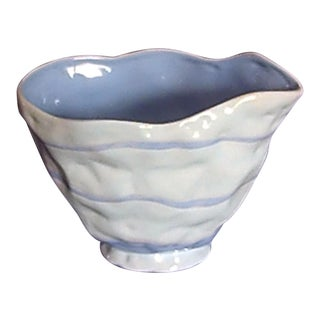 Contemporary Light Blue & White Ceramic Vase For Sale