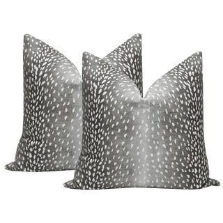 "22"" Charcoal Antelope Linen Print Pillows - a Pair For Sale"