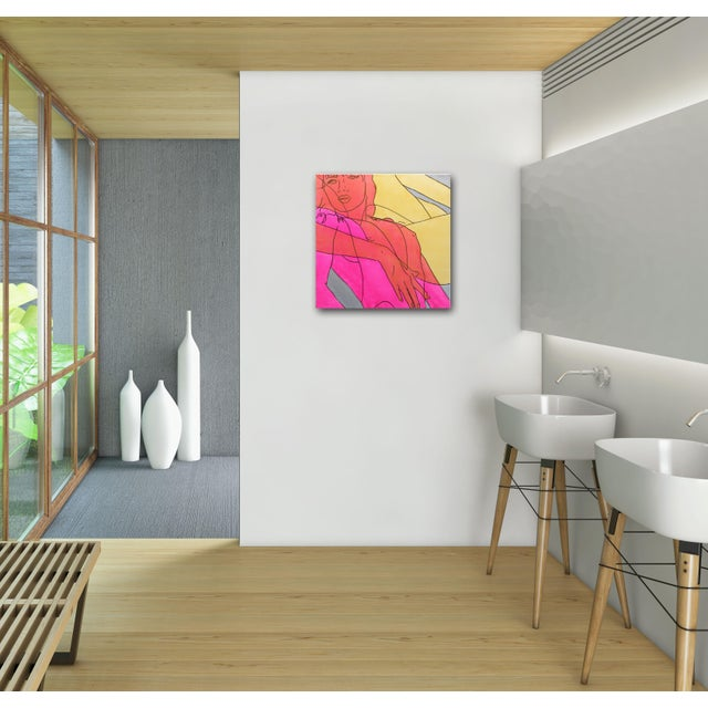 """Hilary Bond """"Pink Gold Silver"""" Original Painting For Sale In Los Angeles - Image 6 of 9"""
