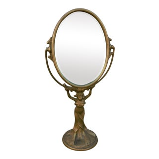 Golden Manufacturing Company Chicago Figural Gold Gilded Adjustable Beveled Vanity Mirror For Sale