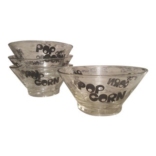 1960's Typography Glass Popcorn Bowls - Set of 4