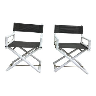 McGuire Directors Chairs, a Pair For Sale