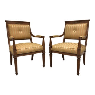 Vintage Mid 20th Century French Provincial Louis XVI Lounge Chairs - a Pair For Sale