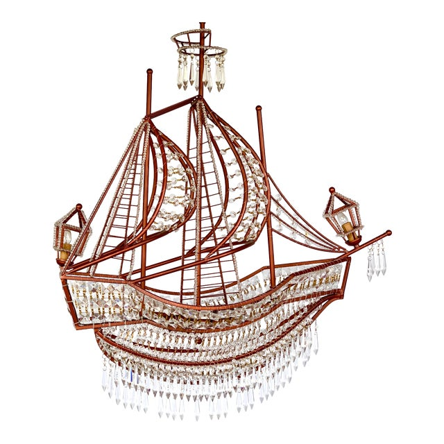 Rose Gold and Crystal Ship Chandelier For Sale