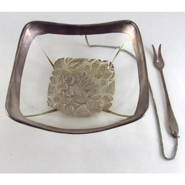 Georges Briard 1960s Georges Briard Silver Enamel Lemon Bowl With Attached Silver Plate Fork For Sale - Image 4 of 11