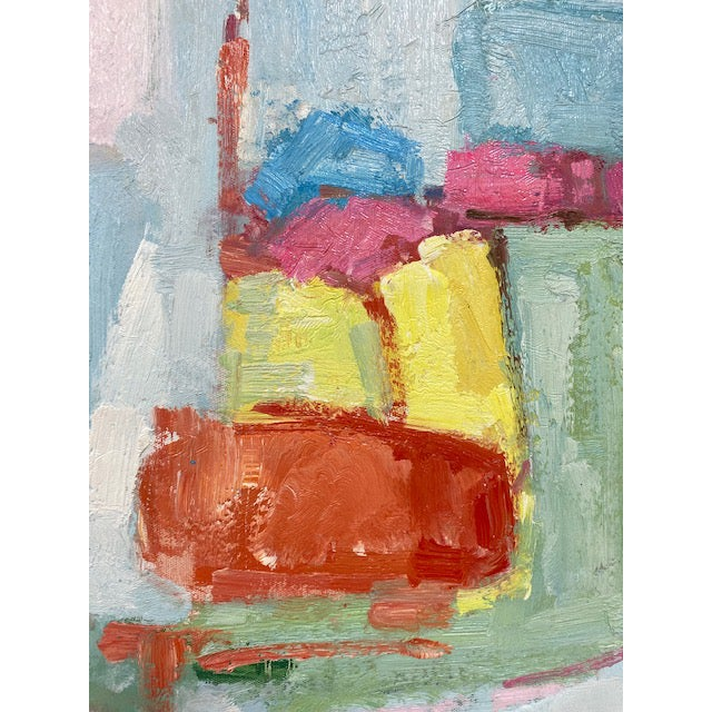 Beautiful original abstract oil painting on canvas. Bright happy colors.