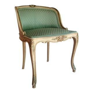 French Painted Frame Mint Upholstered Slipper Chair For Sale