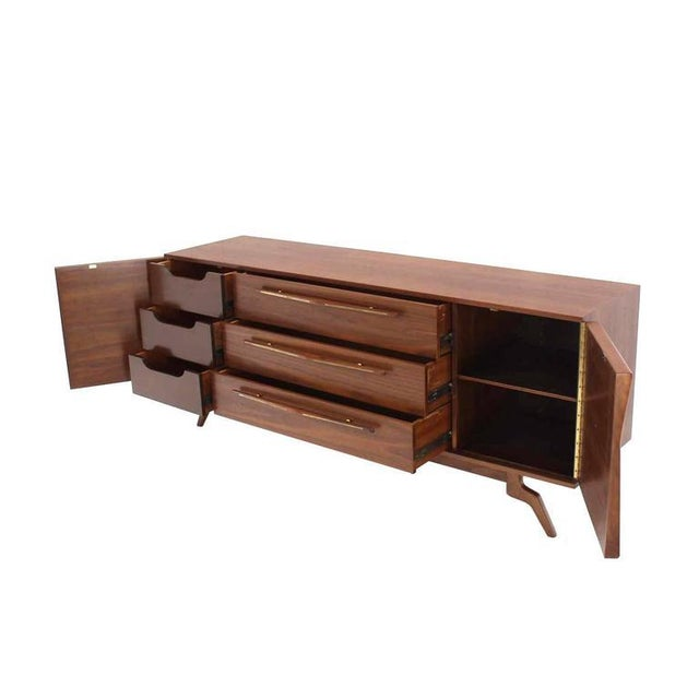 Lacquer Outstanding Mid-Century Walnut Dresser with Heavy Sculptural Hardware For Sale - Image 7 of 8