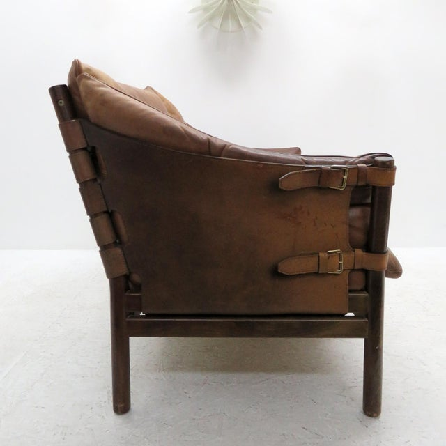 Animal Skin 1960's Vintage 'Ilona' by Arne Norell Leather Settee For Sale - Image 7 of 13
