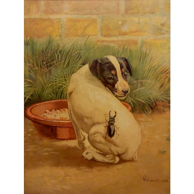 """Late 19th Century Antique Edmund Caldwell """"Jack Russel Puppy With A Stag Beetle"""" Painting For Sale - Image 4 of 9"""