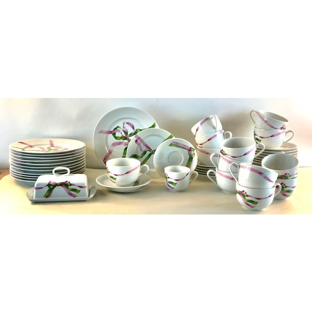 """Perfect dishwasher safe porcelain from France by Jacque Coeur. The set includes: 14- large saucers with 13 cups ( 4.25"""" in..."""