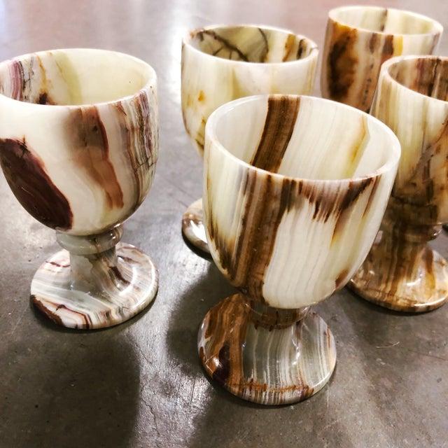 Gemstone Carved Onyx Goblets, Set of 6 For Sale - Image 7 of 8