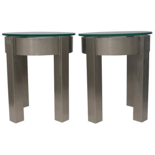 Contemporary Industrial Style Round Stainless Steel Side Tables - a Pair For Sale