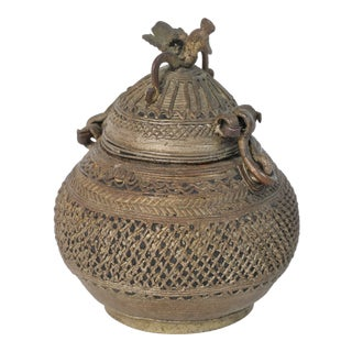 Indian Bronze Metal Incense Burner Box With Peacock Finial For Sale
