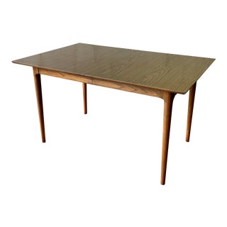 Mid Century Modern Walnut Dining Table + Expansion Leaves For Sale