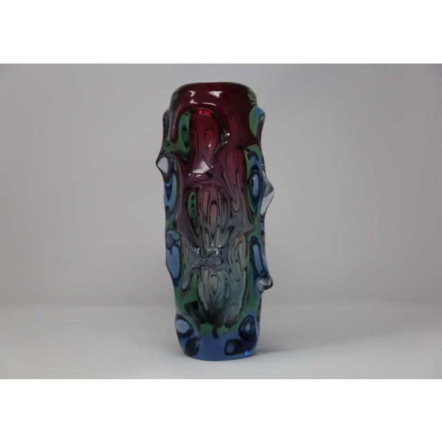 Mid-Century Modern Czech Metallurgical Glass Vase For Sale - Image 3 of 3