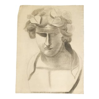 French Neoclassical Charcoal Drawing For Sale