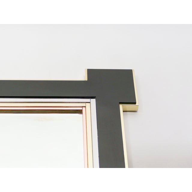 1970s 1975 Alain Delon for Maison Jansen Lacquer and Brass Wall Mirror For Sale - Image 5 of 13