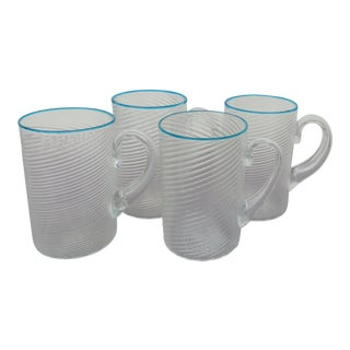 Italian Swirled Glass Mugs with Turquoise Rims - Set of 4 For Sale