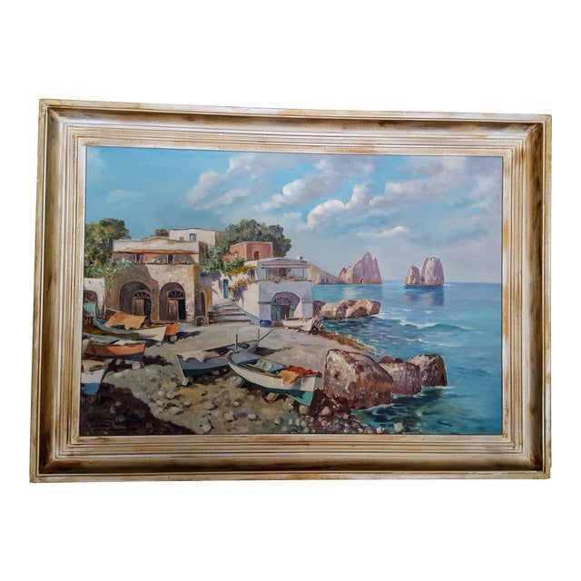 1960s Italian Coastal Oil Painting on Masonite by Guiseppe Salvati For Sale