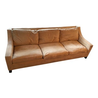 Pottery Barn Suede Down Fill Sofa For Sale