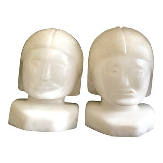Vintage Onyx Head Bookends - a Pair For Sale