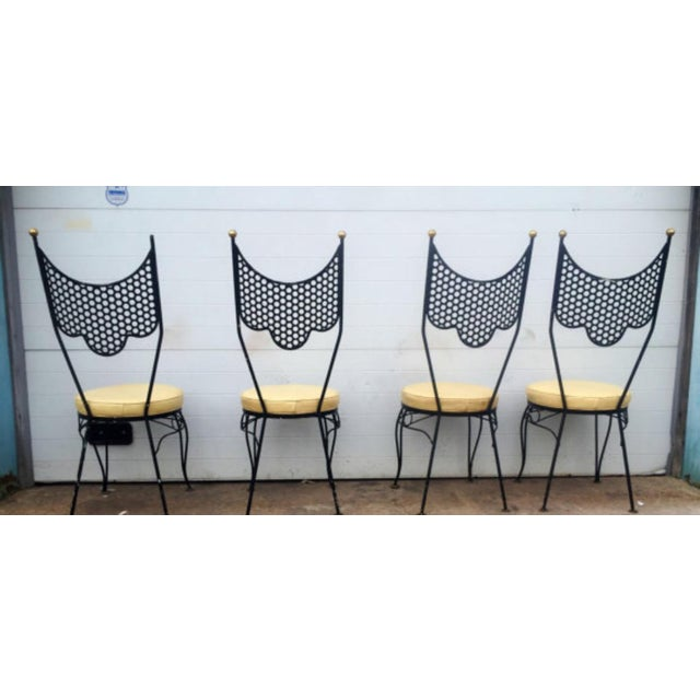 Vintage High Back Metal Chairs - Set of 4 - Image 5 of 6