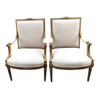 Upholstered Gilt Louis XVI Style Fauteuils- A Pair For Sale