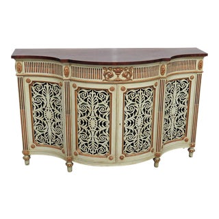 20th Century English Traditional Paint Decorated Commode For Sale