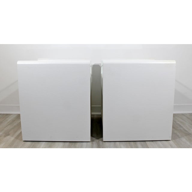 1980s 1980s Contemporary Modern White Lacquer & Glass Nightstands End Tables - a Pair For Sale - Image 5 of 9
