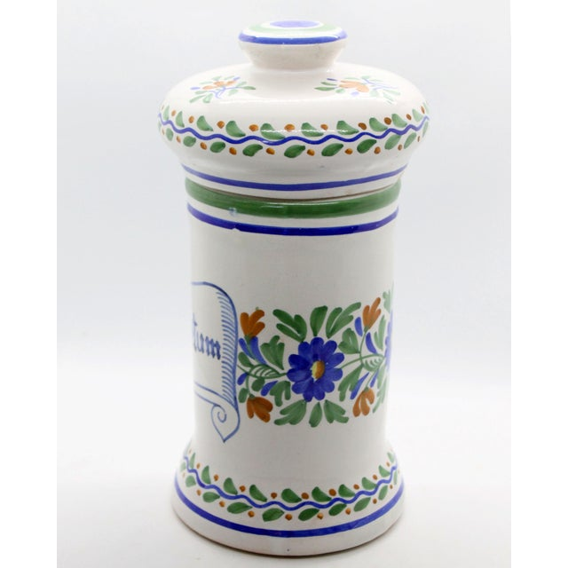 Majolica Spanish Apothecary Jar, Hand Painted & Signed For Sale - Image 4 of 7