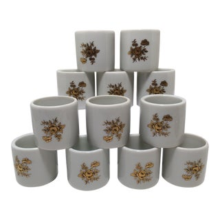 Vintage 22 Kt. Gold Roses on Porcelain Napkin Rings - Set of 12