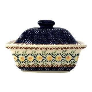 Vintage Boleslawiec Polish Folk Stoneware Pottery Lidded Casserole Serving Bowl For Sale