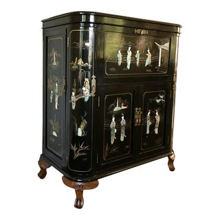 Regency Black Lacquer Chinoiserie Bar Cabinet For Sale