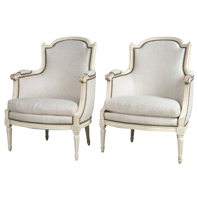 French Louis XVI Style Bergeres - a Pair For Sale - Image 10 of 10
