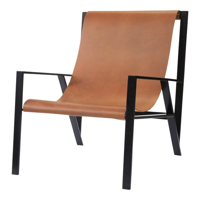 Hampton Light Black Frame, Distressed Brown Leather Lounge Chair For Sale