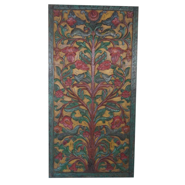 Vintage Indian Kalpavriksha Tree of Dreams Wall Sculpture Barn Door Panel For Sale