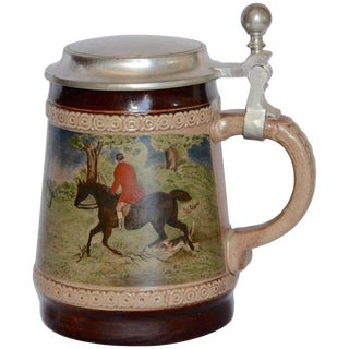 Midcentury Marzi and Remy German Beer Stein With Fox Hunting Scene For Sale