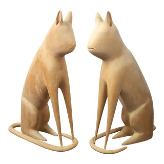 Matched Pair of Cat Carvings by Linvel Barker, Kentucky For Sale