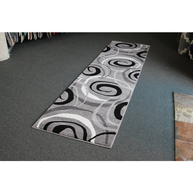 Gray Circles Rug Runner Rug -- 3' x 10' - Image 3 of 4