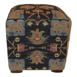 Colorful Kilim Covered Ottoman