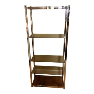 Chrome & Smoke Glass Etagere For Sale