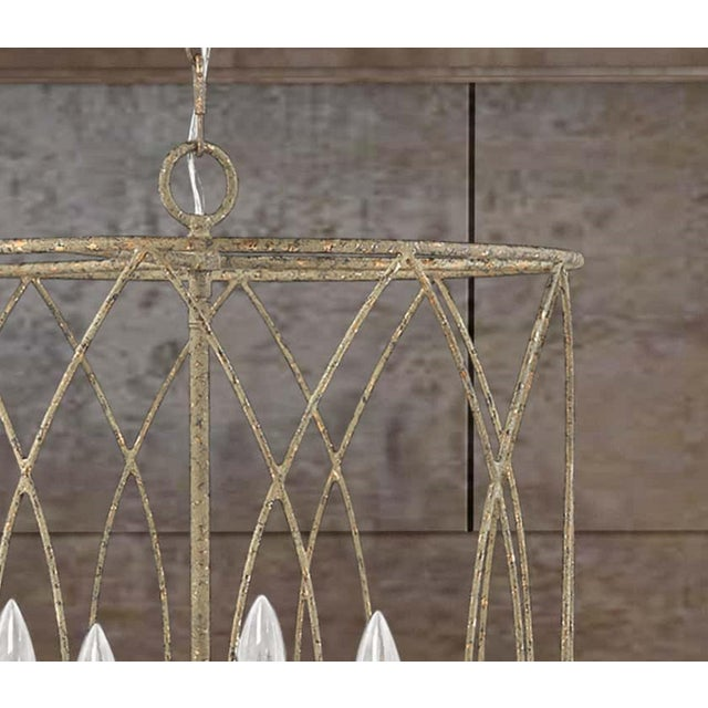 Transitional Lucie 4 Light Pendant, Rococo Grey Gold Leaf For Sale - Image 3 of 5
