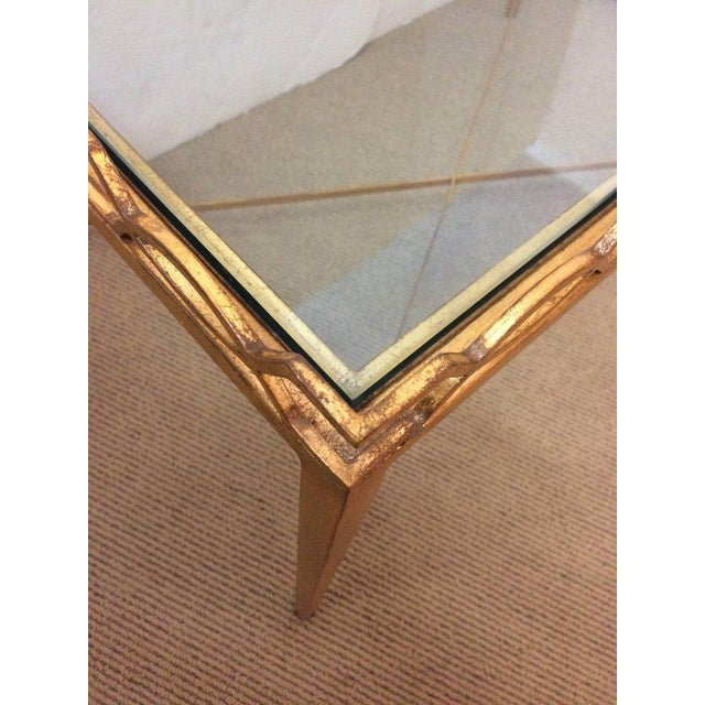 Glass 1970s Italian Gold-Leaf Coffee Table For Sale - Image 7 of 9